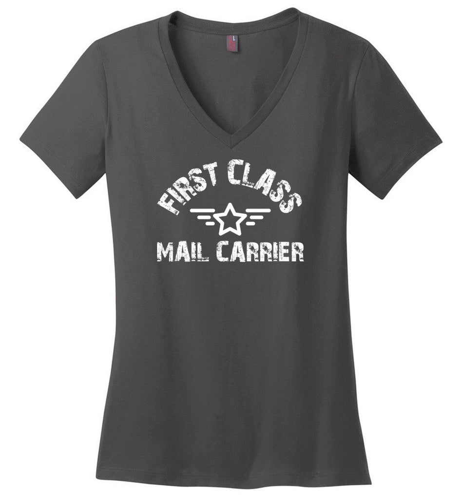 Postal Worker Tees Women's V-Neck Charcoal / S First class mail carrier Women's V-Neck Tshirt