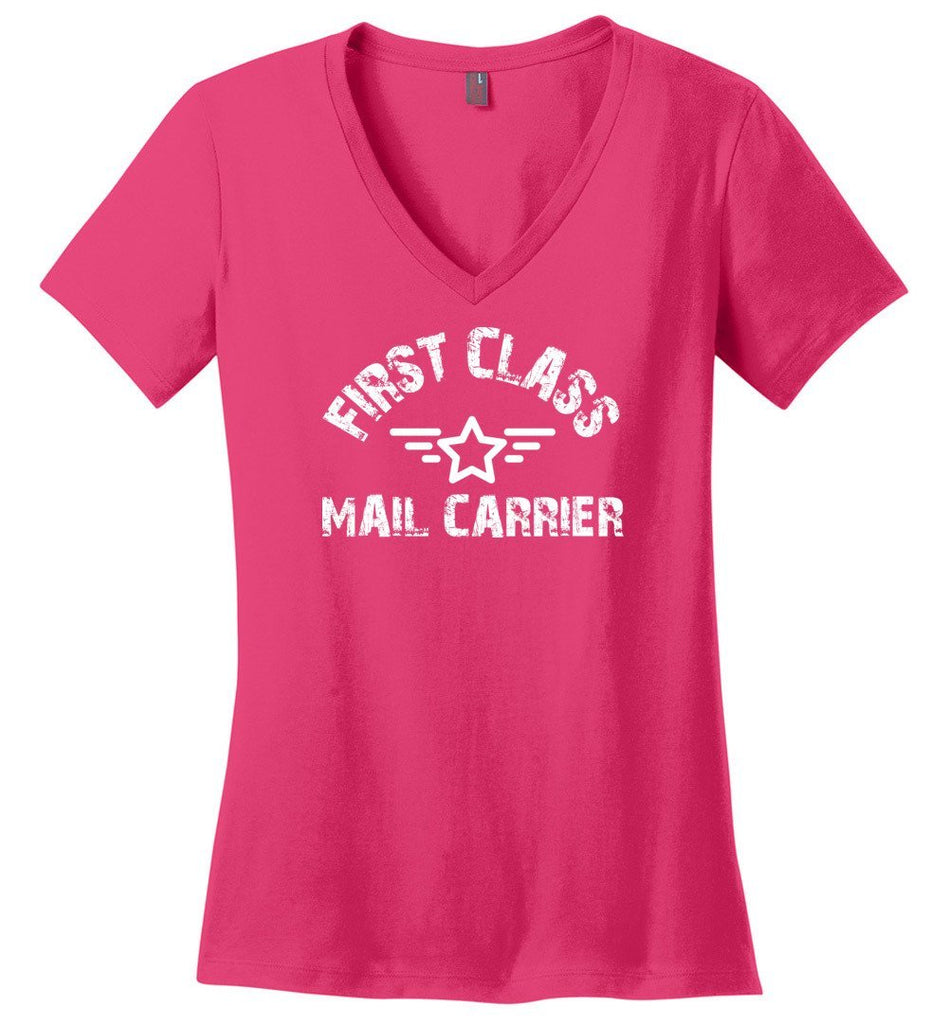 Postal Worker Tees Women's V-Neck Dark Fuchsia / S First class mail carrier Women's V-Neck Tshirt