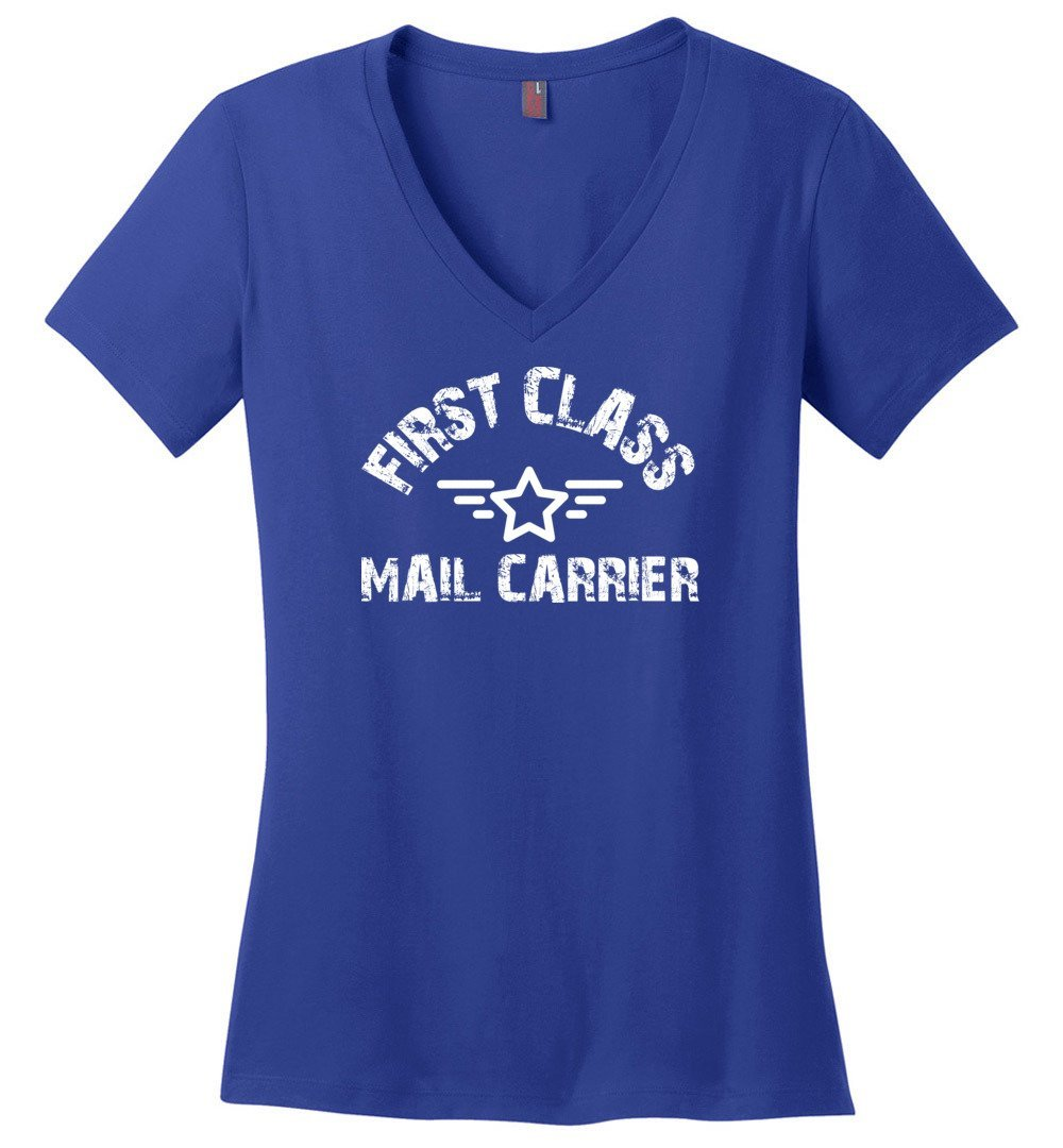 Postal Worker Tees Women's V-Neck Deep Royal / S First class mail carrier Women's V-Neck Tshirt
