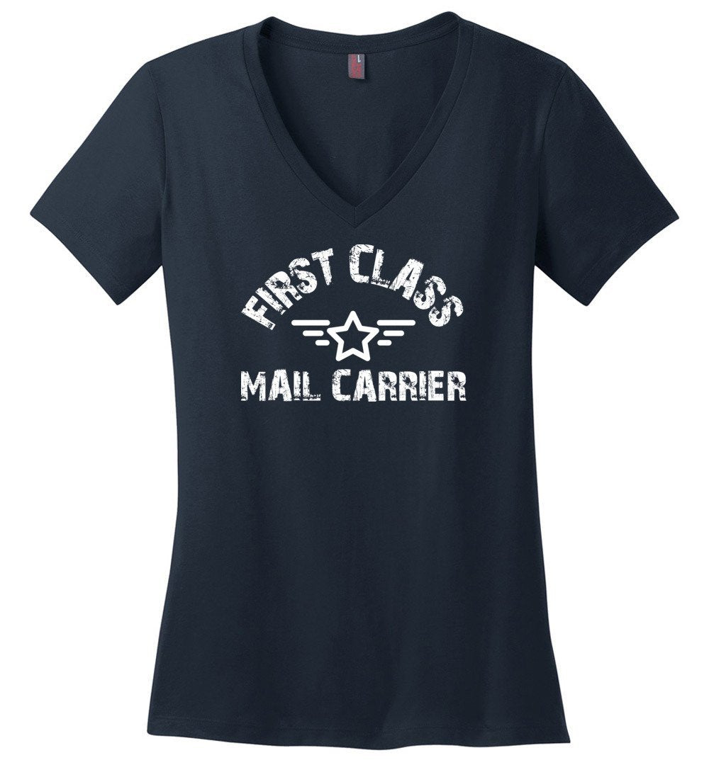 Postal Worker Tees Women's V-Neck Navy / S First class mail carrier Women's V-Neck Tshirt