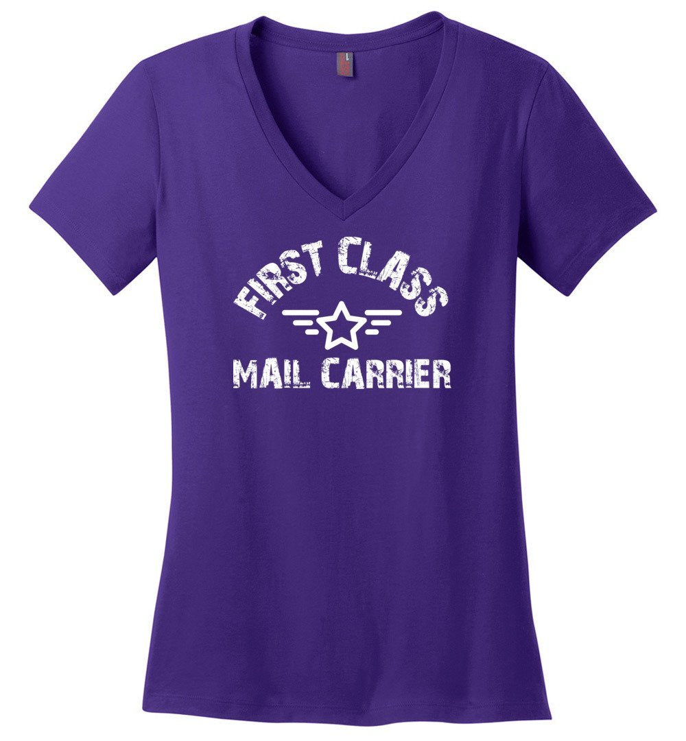 Postal Worker Tees Women's V-Neck Purple / S First class mail carrier Women's V-Neck Tshirt