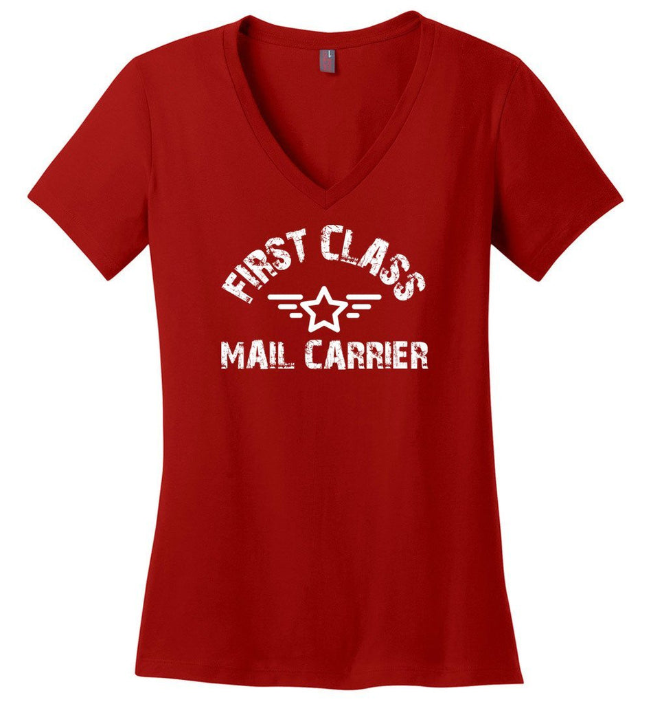 Postal Worker Tees Women's V-Neck Red / S First class mail carrier Women's V-Neck Tshirt