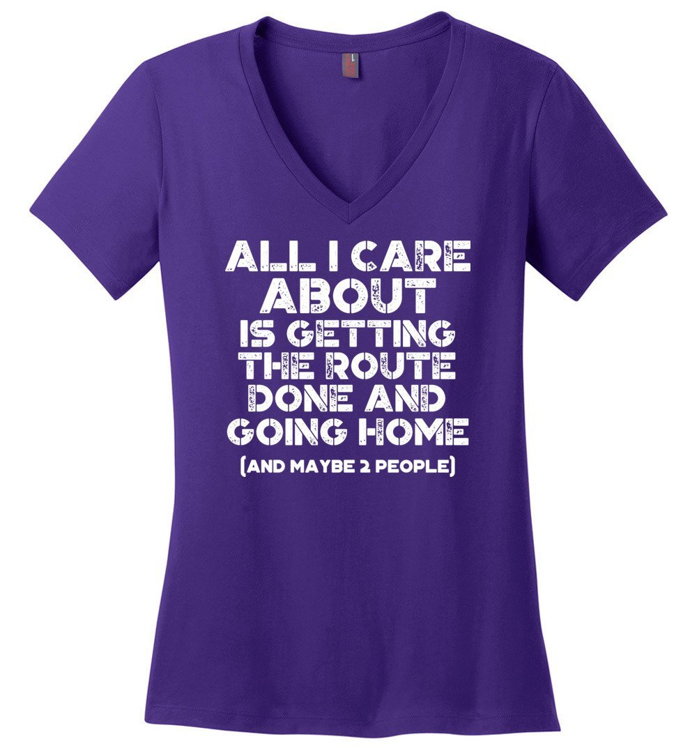 Postal Worker Tees Women's V-Neck Purple / S Getting the route done and go home Women's V-Neck