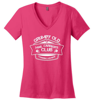 Postal Worker Tees Women's V-Neck Dark Fuchsia / S Grumpy old mail carriers club Women's V-Neck Tshirt