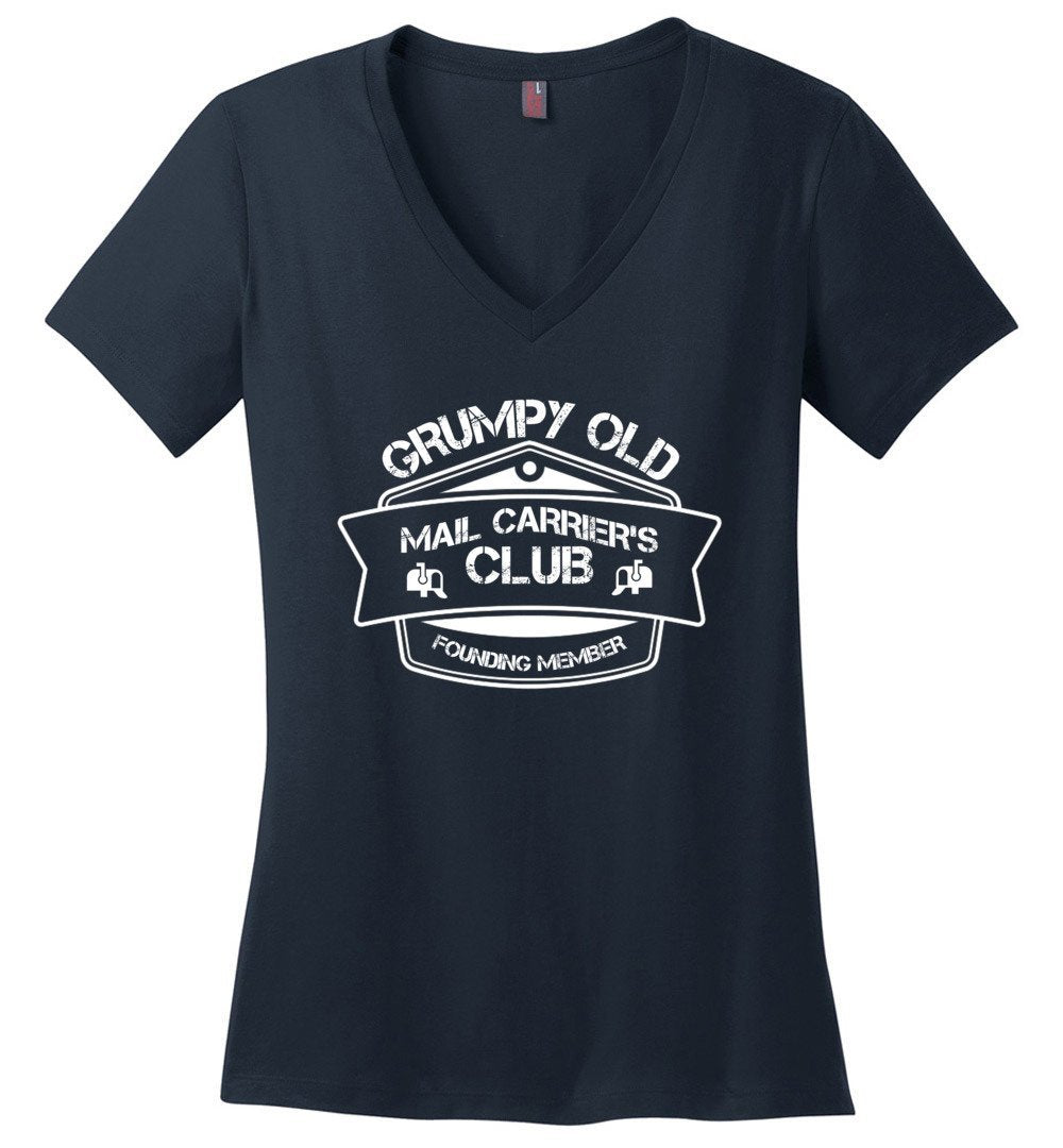 Postal Worker Tees Women's V-Neck Navy / S Grumpy old mail carriers club Women's V-Neck Tshirt