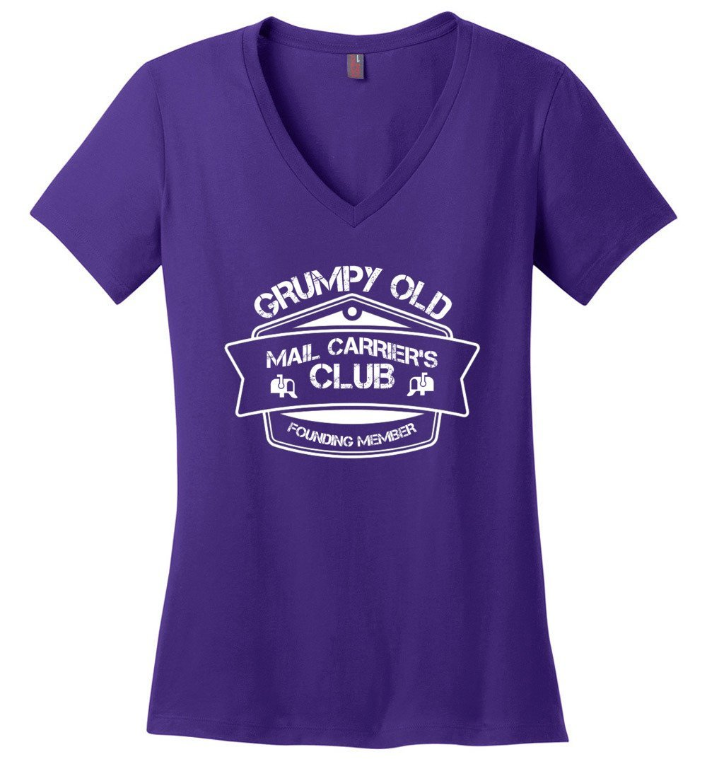 Postal Worker Tees Women's V-Neck Purple / S Grumpy old mail carriers club Women's V-Neck Tshirt