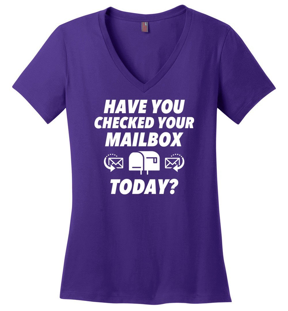 Postal Worker Tees Women's V-Neck Purple / S Have you checked your mailbox Women's V-Neck Tshirt