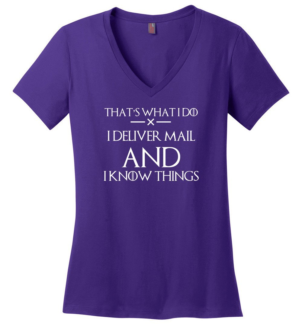 Postal Worker Tees Women's V-Neck Purple / S I deliver mail and I know things Women's V-Neck Tshirt