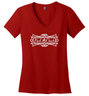 Postal Worker Tees Women's V-Neck Red / S Mail Chick with letter Women's V-Neck Tshirt