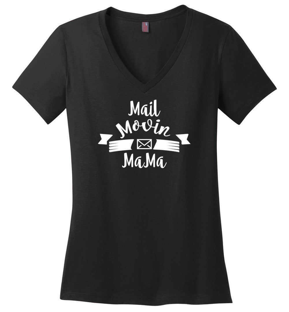 Postal Worker Tees Women's V-Neck Black / S Mail Movin Mama Women's V-Neck Tshirt