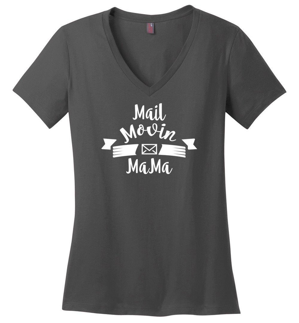 Postal Worker Tees Women's V-Neck Charcoal / S Mail Movin Mama Women's V-Neck Tshirt