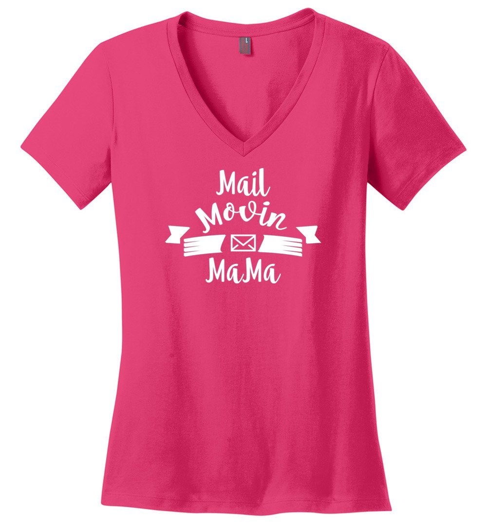 Postal Worker Tees Women's V-Neck Dark Fuchsia / S Mail Movin Mama Women's V-Neck Tshirt