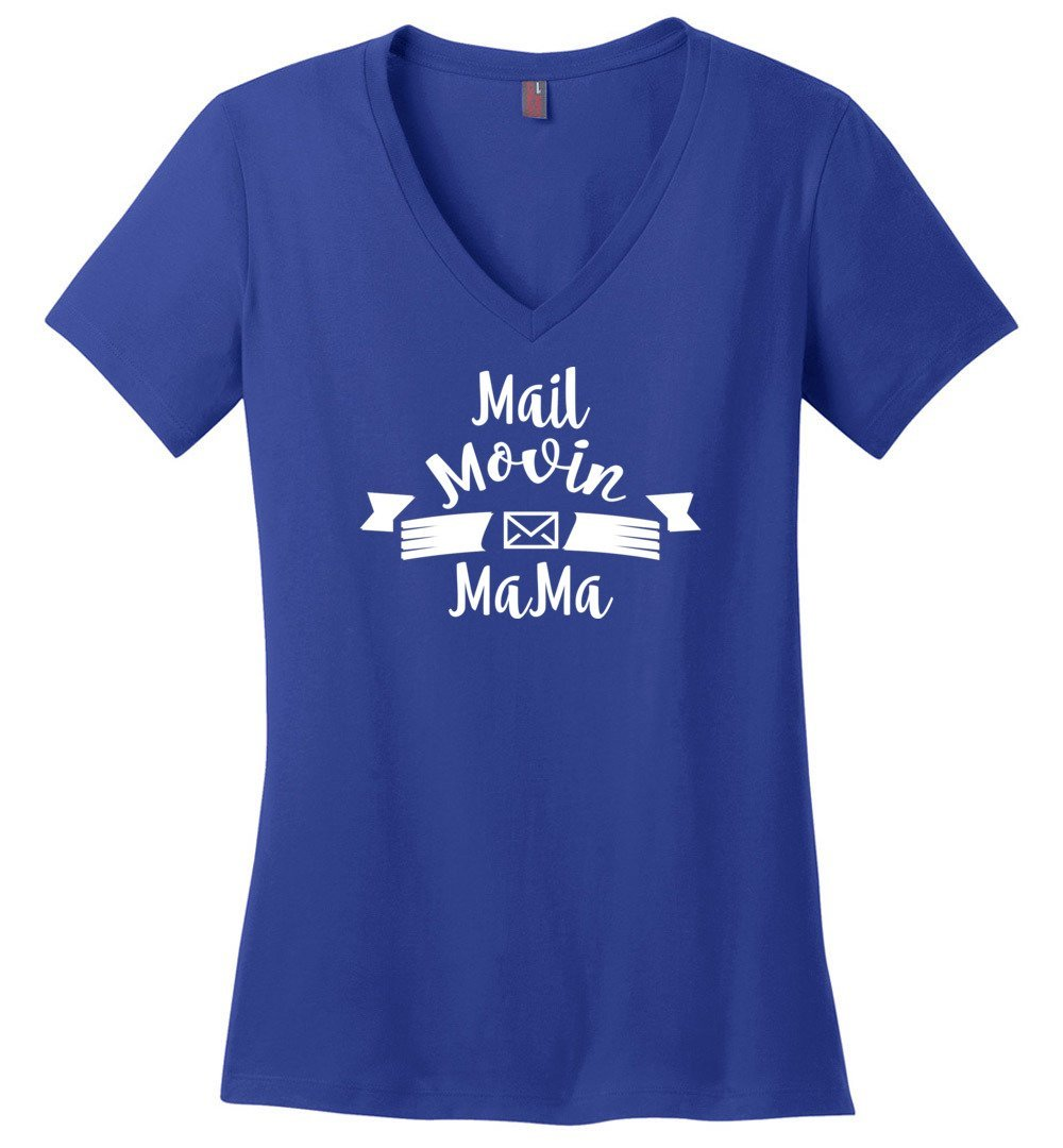 Postal Worker Tees Women's V-Neck Deep Royal / S Mail Movin Mama Women's V-Neck Tshirt