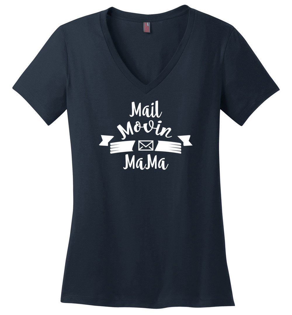 Postal Worker Tees Women's V-Neck Navy / S Mail Movin Mama Women's V-Neck Tshirt