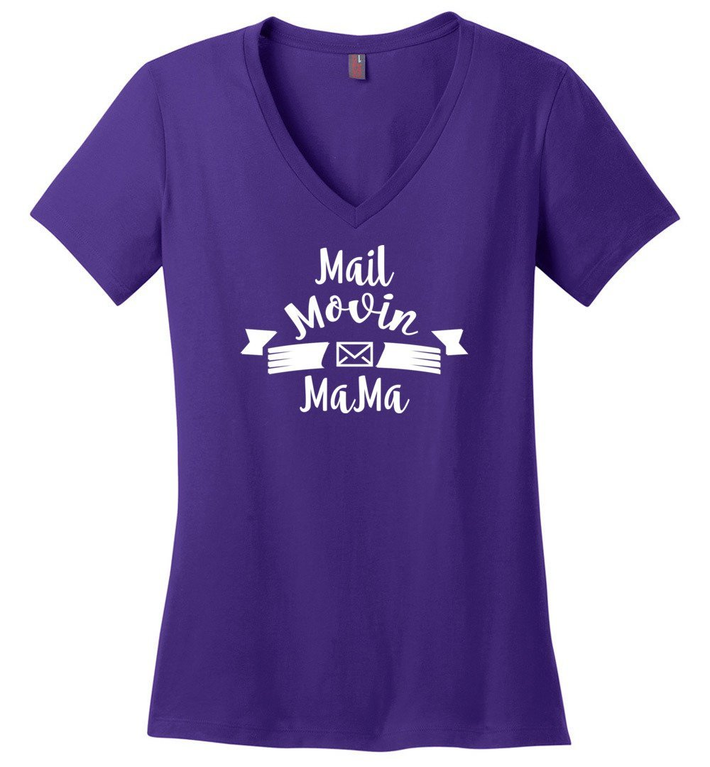 Postal Worker Tees Women's V-Neck Purple / S Mail Movin Mama Women's V-Neck Tshirt