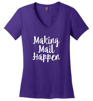 Postal Worker Tees Women's V-Neck Purple / S Making Mail Happen Women's V-Neck Tshirt