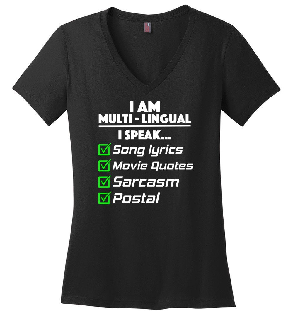 Postal Worker Tees Women's V-Neck Black / S Multilingual Postal worker Women's V-Neck Tshirt