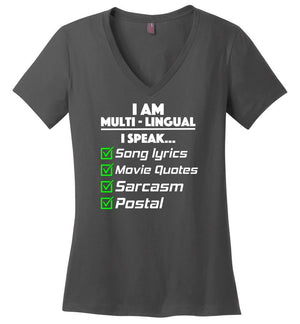 Postal Worker Tees Women's V-Neck Charcoal / S Multilingual Postal worker Women's V-Neck Tshirt