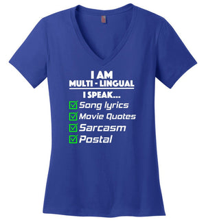 Postal Worker Tees Women's V-Neck Deep Royal / S Multilingual Postal worker Women's V-Neck Tshirt