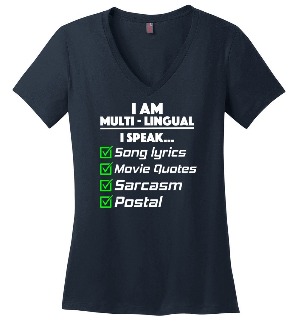 Postal Worker Tees Women's V-Neck Navy / S Multilingual Postal worker Women's V-Neck Tshirt