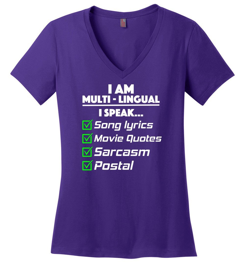 Postal Worker Tees Women's V-Neck Purple / S Multilingual Postal worker Women's V-Neck Tshirt