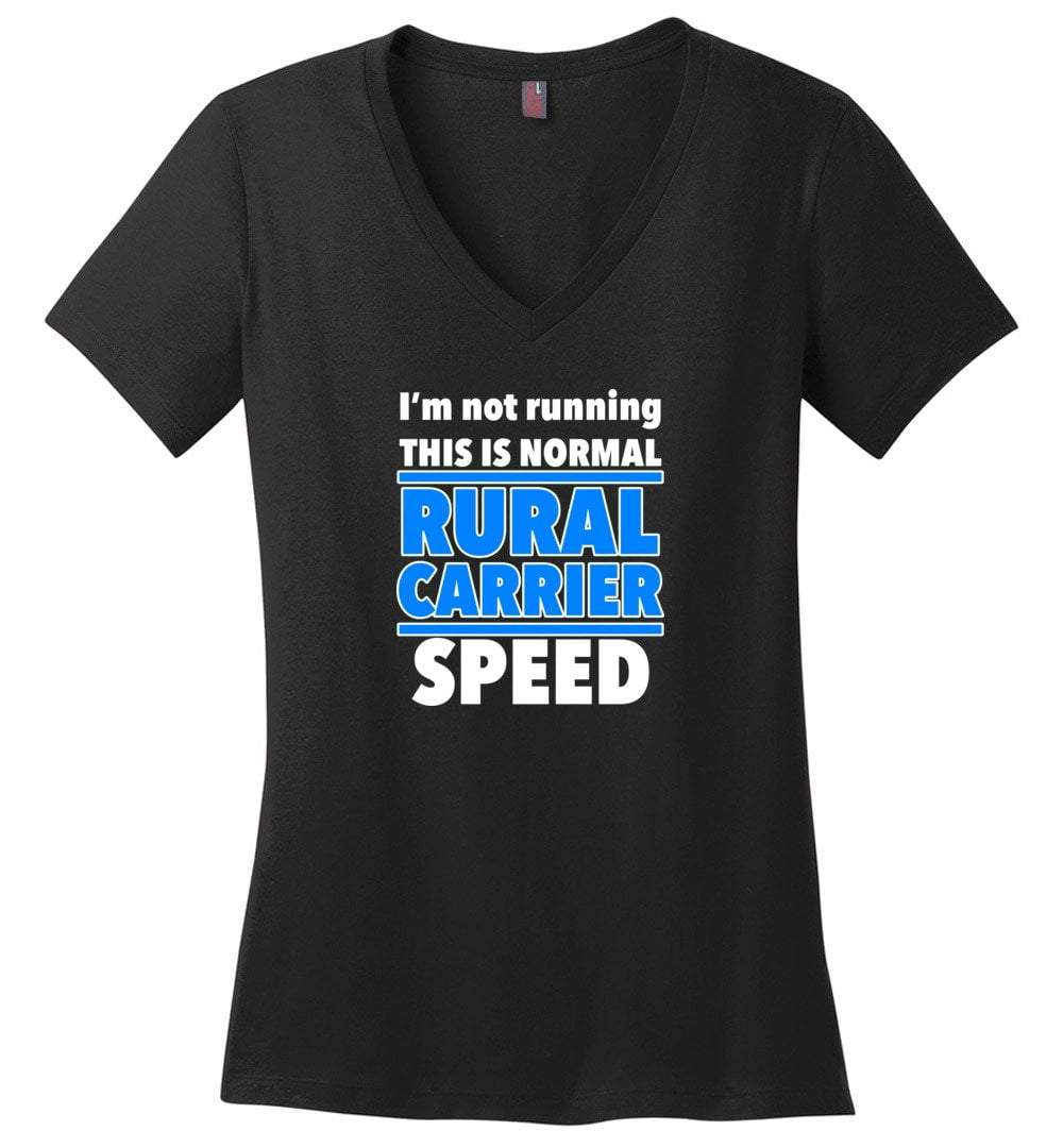 Postal Worker Tees Women's V-Neck Black / S Normal rural carrier speed Women's V-Neck Tshirt