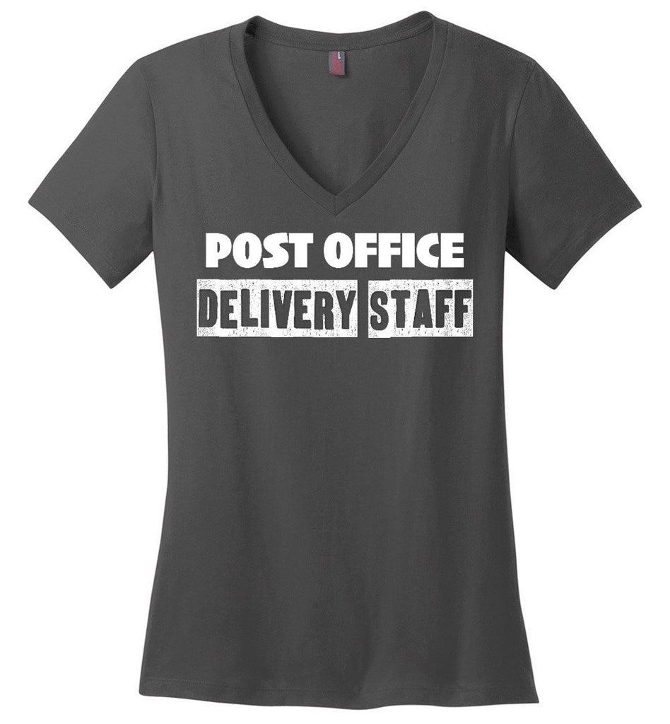 Postal Worker Tees Women's V-Neck Charcoal / S Post office delivery staff Women's V-Neck Tshirt