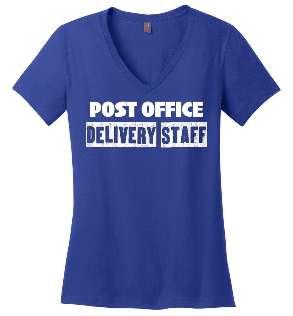 Postal Worker Tees Women's V-Neck Deep Royal / S Post office delivery staff Women's V-Neck Tshirt