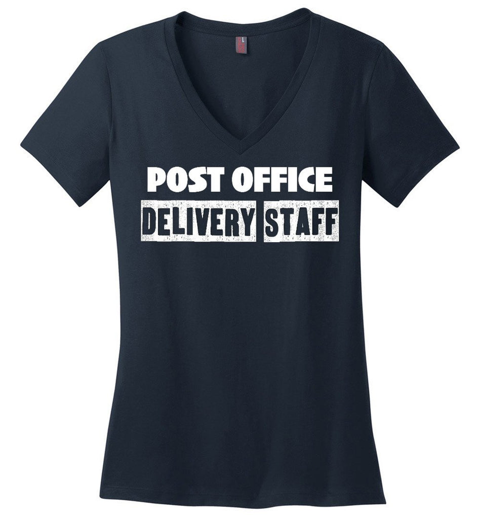 Postal Worker Tees Women's V-Neck Navy / S Post office delivery staff Women's V-Neck Tshirt