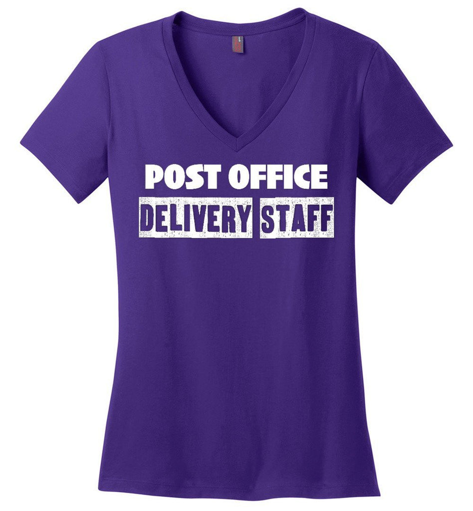 Postal Worker Tees Women's V-Neck Purple / S Post office delivery staff Women's V-Neck Tshirt