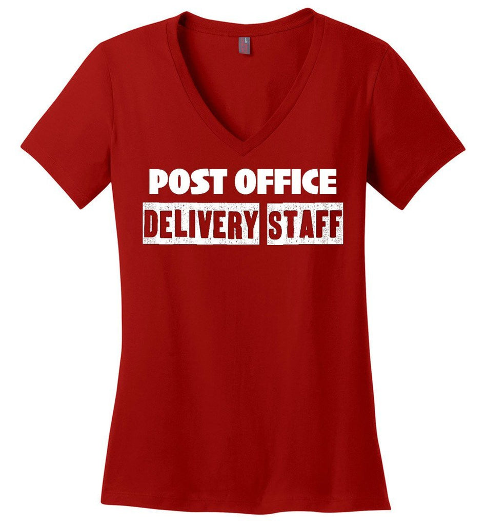 Postal Worker Tees Women's V-Neck Red / S Post office delivery staff Women's V-Neck Tshirt