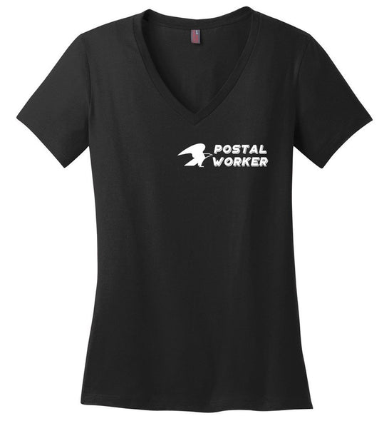 Postal Worker Tees Women's V-Neck Black / XS Postal Worker left chest eagle design Women's V-Neck Tshirt