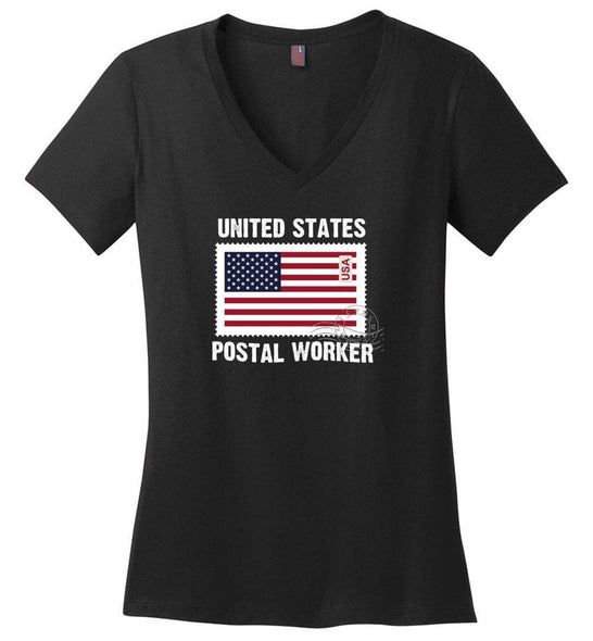 Postal Worker Tees Women's V-Neck Black / S Postal Worker US Flag Women's V-Neck Tshirt