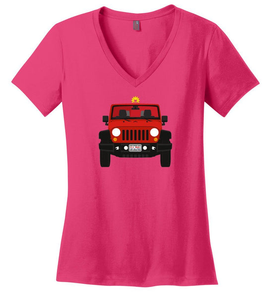 Postal Worker Tees Women's V-Neck Dark Fuchsia / S Red Rural Carrier Mail Jeep Women's V-Neck Tshirt
