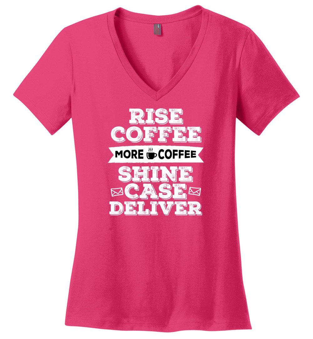 Postal Worker Tees Women's V-Neck Dark Fuchsia / S Rise, Coffee, More coffee Women's V-Neck Tshirt