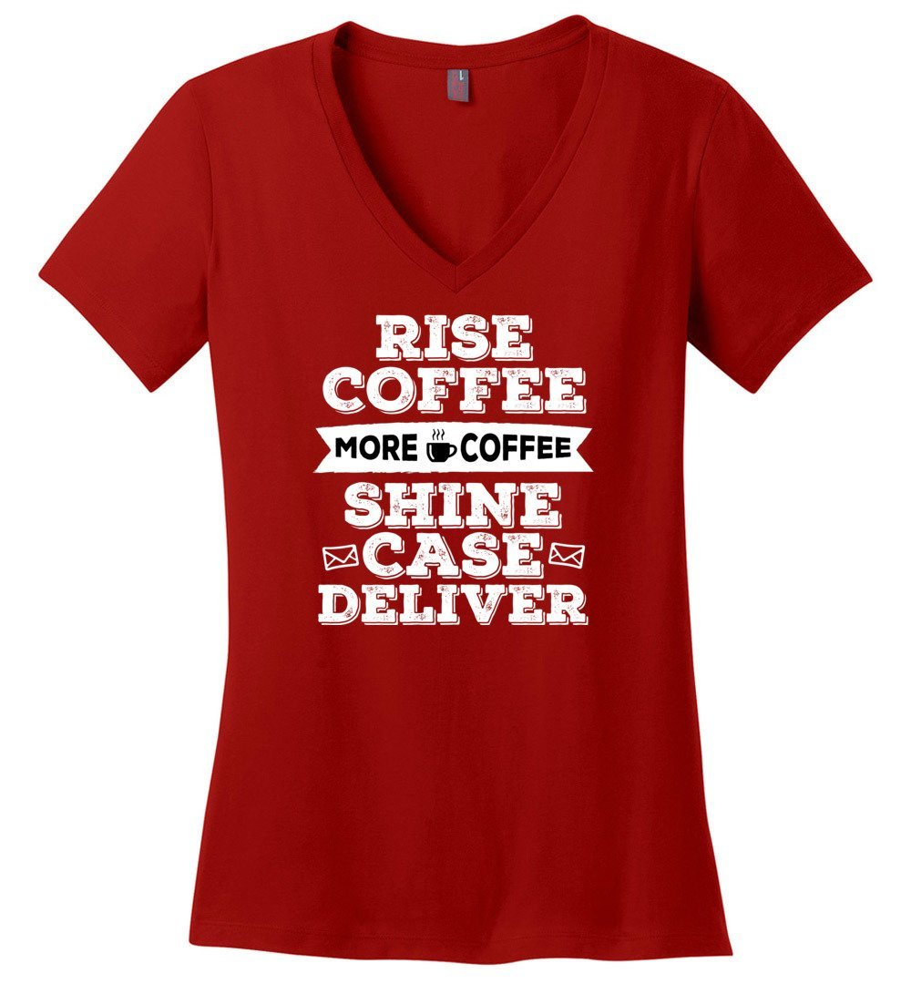 Postal Worker Tees Women's V-Neck Red / S Rise, Coffee, More coffee Women's V-Neck Tshirt