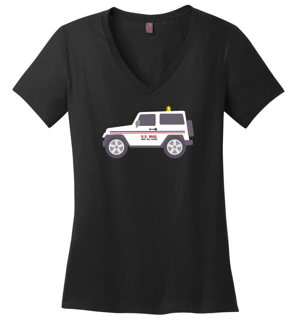 Postal Worker Tees Women's V-Neck Black / S Rural Carrier Mail Jeep Women's V-Neck Tshirt