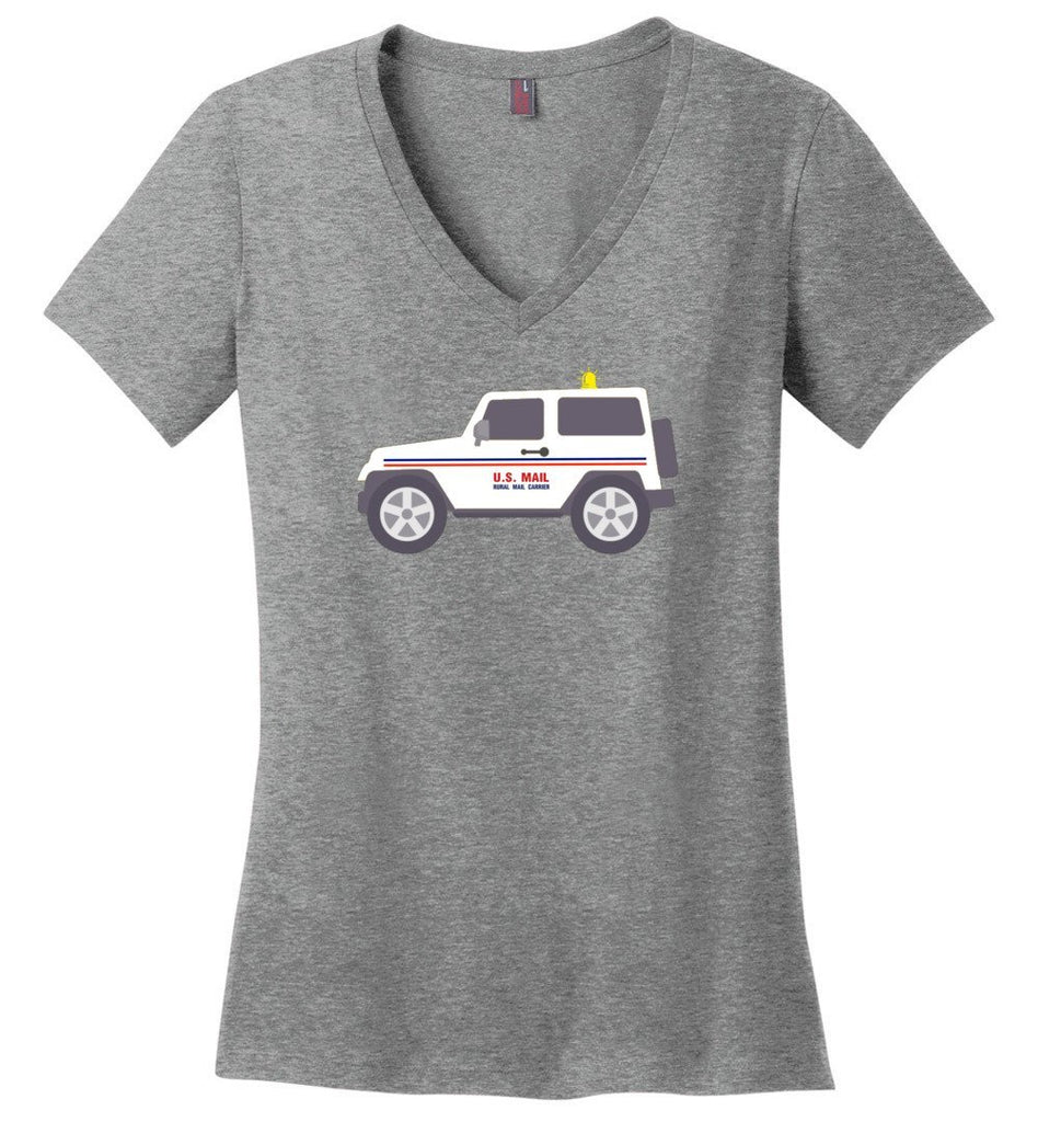 Postal Worker Tees Women's V-Neck Heathered Nickel / S Rural Carrier Mail Jeep Women's V-Neck Tshirt