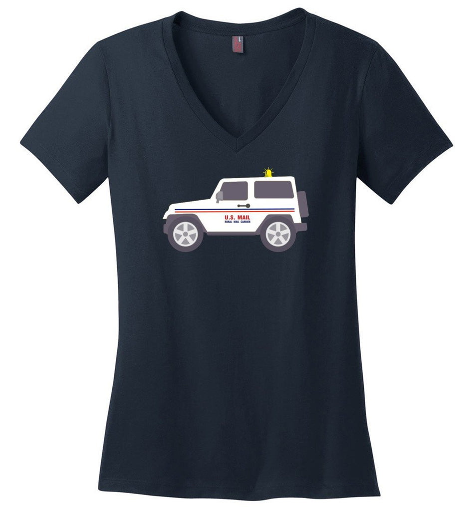 Postal Worker Tees Women's V-Neck Navy / S Rural Carrier Mail Jeep Women's V-Neck Tshirt