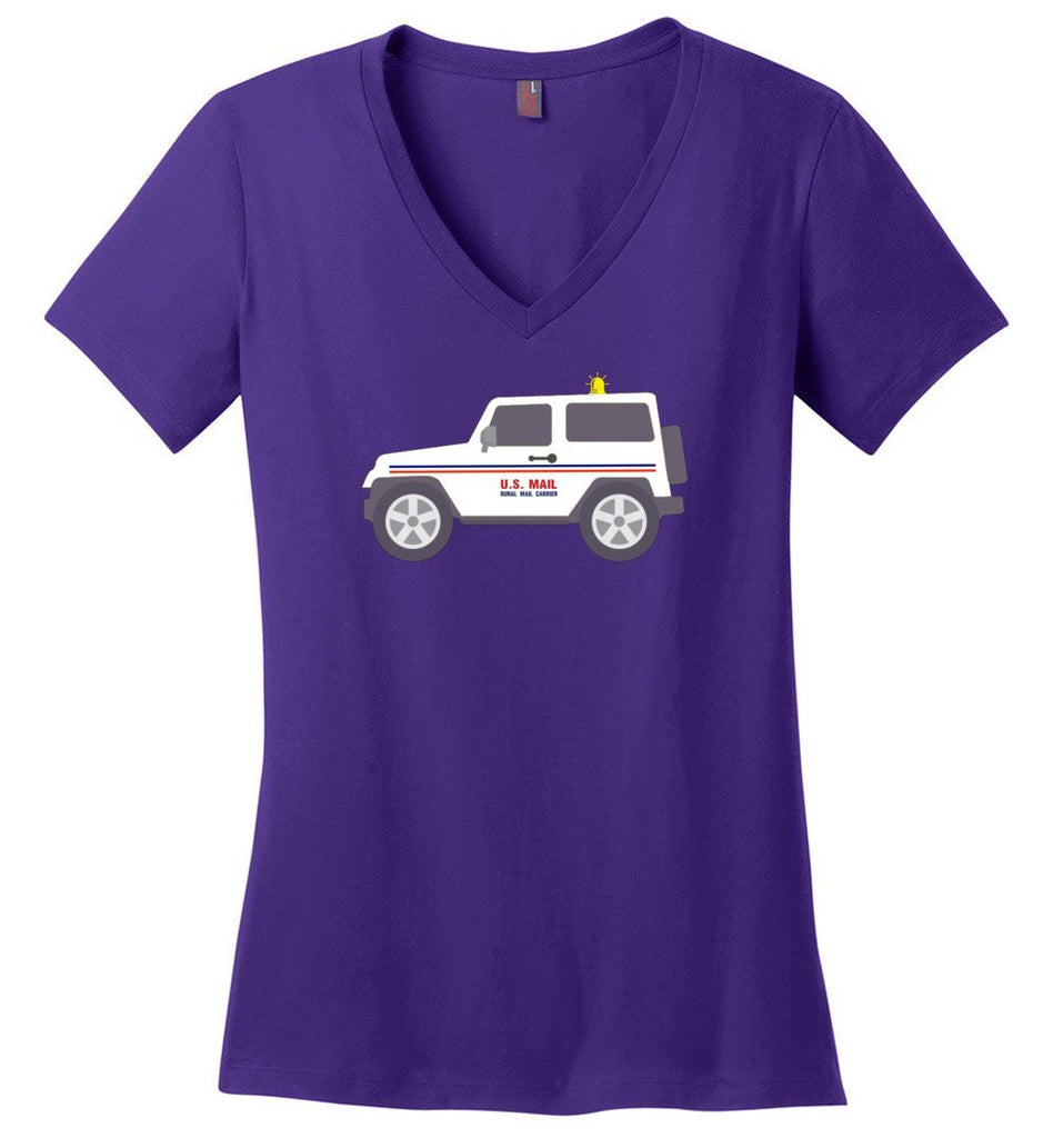 Postal Worker Tees Women's V-Neck Purple / S Rural Carrier Mail Jeep Women's V-Neck Tshirt