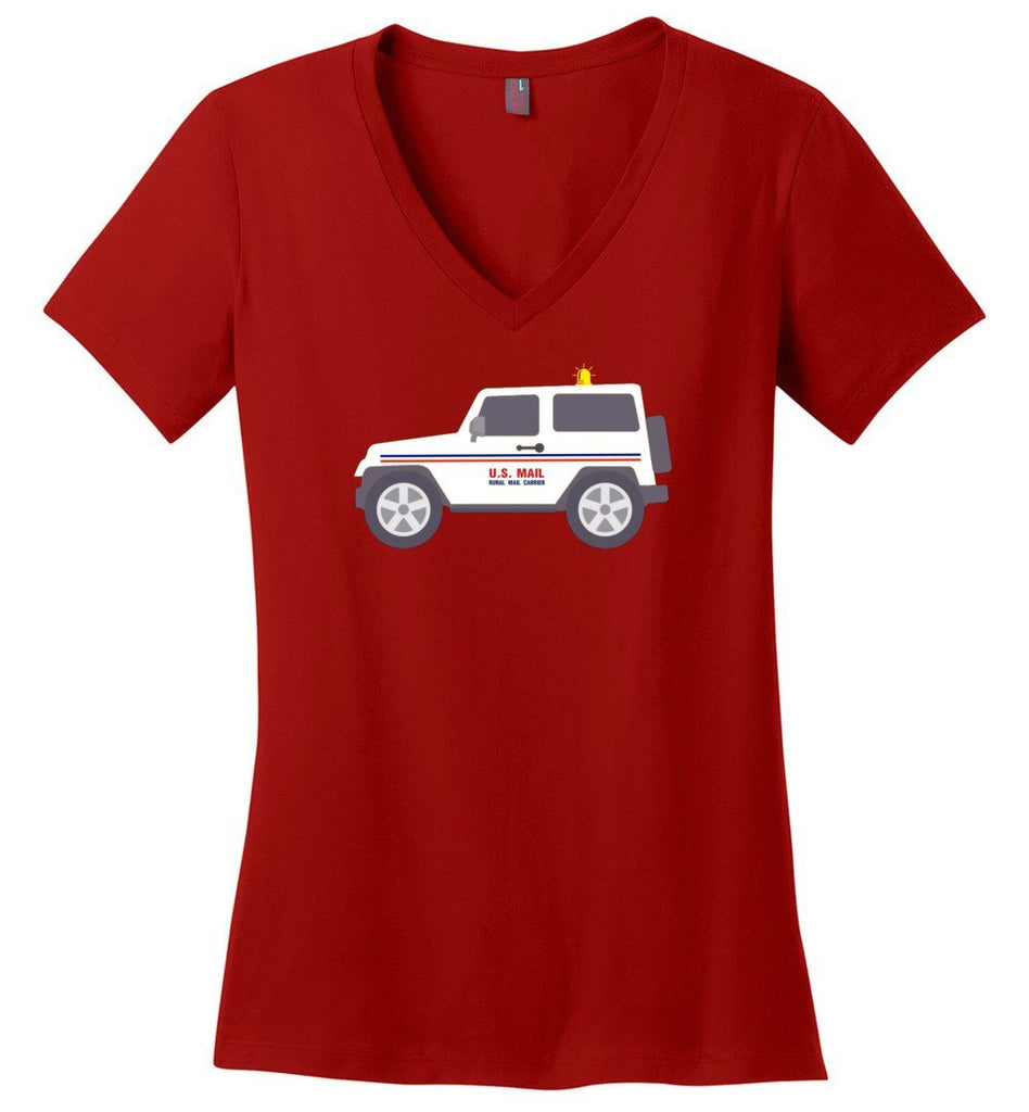 Postal Worker Tees Women's V-Neck Red / S Rural Carrier Mail Jeep Women's V-Neck Tshirt