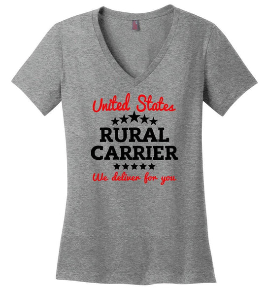 Postal Worker Tees Women's V-Neck Heathered Nickel / S Rural Carrier We deliver for you Women's V-Neck Tshirt