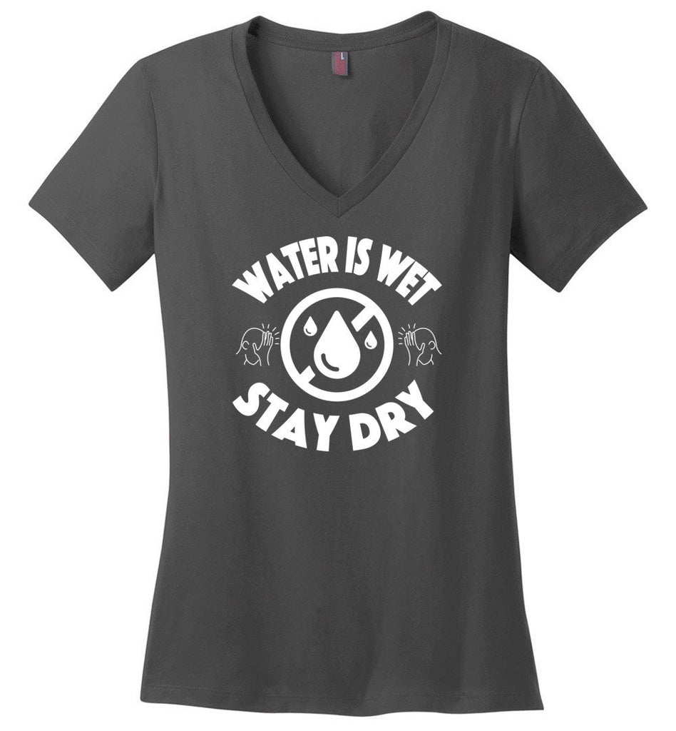 Postal Worker Tees Women's V-Neck Charcoal / S Scanner message - Water is wet Women's V-Neck Tshirt