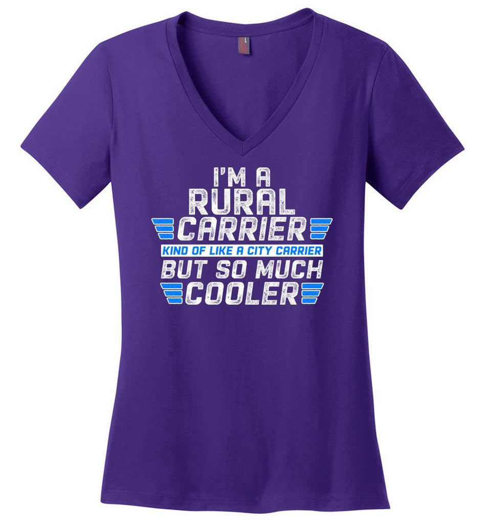 Postal Worker Tees Women's V-Neck Purple / S So much cooler Rural Carrier Women's V-Neck Tshirt