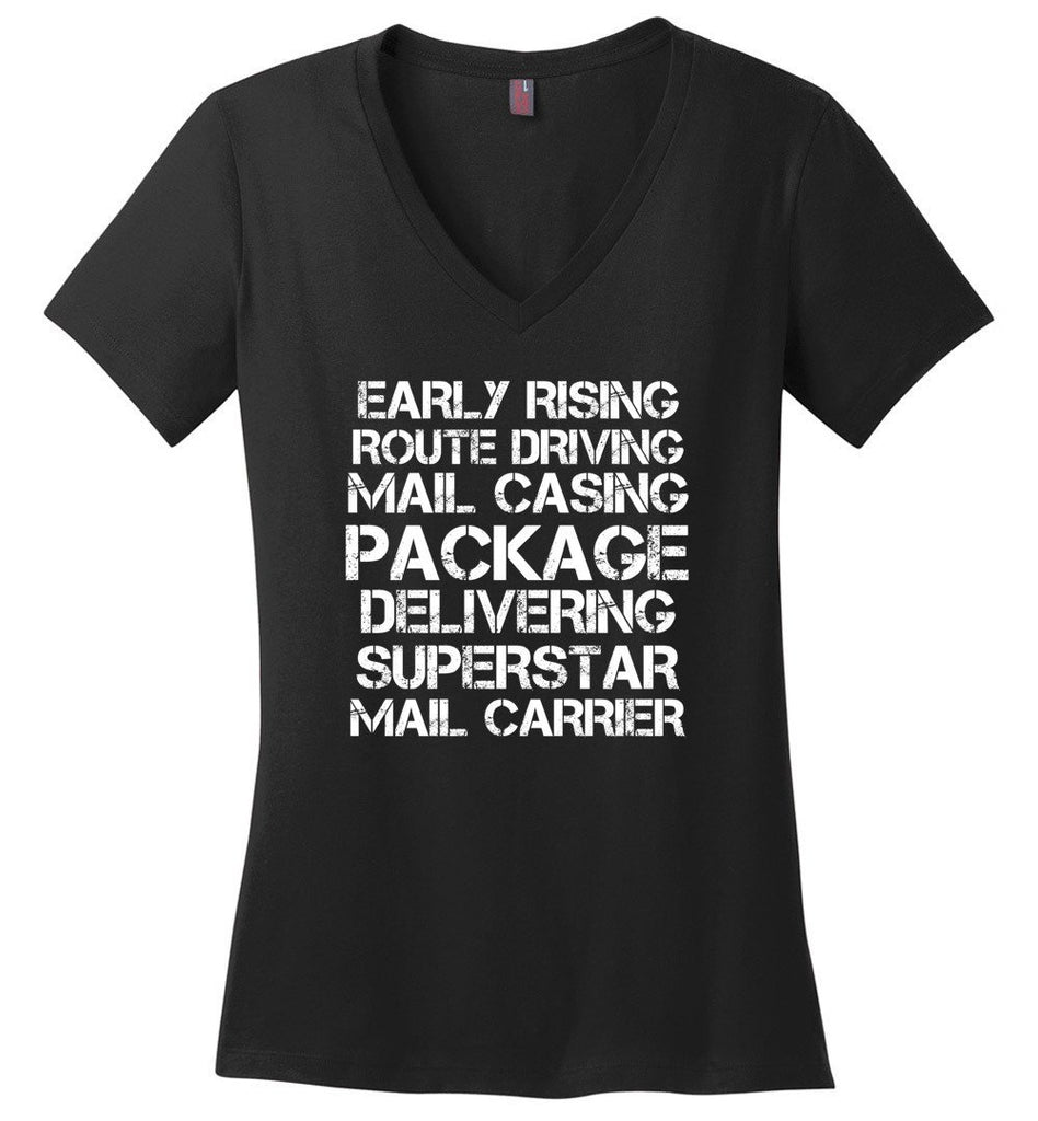 Postal Worker Tees Women's V-Neck Black / S Superstar Mail Carrier Women's V-Neck Tshirt