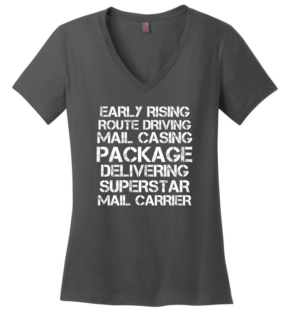 Postal Worker Tees Women's V-Neck Charcoal / S Superstar Mail Carrier Women's V-Neck Tshirt
