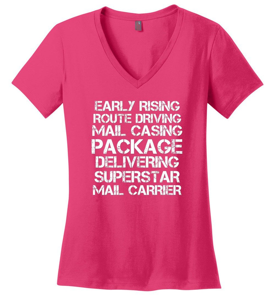 Postal Worker Tees Women's V-Neck Dark Fuchsia / S Superstar Mail Carrier Women's V-Neck Tshirt