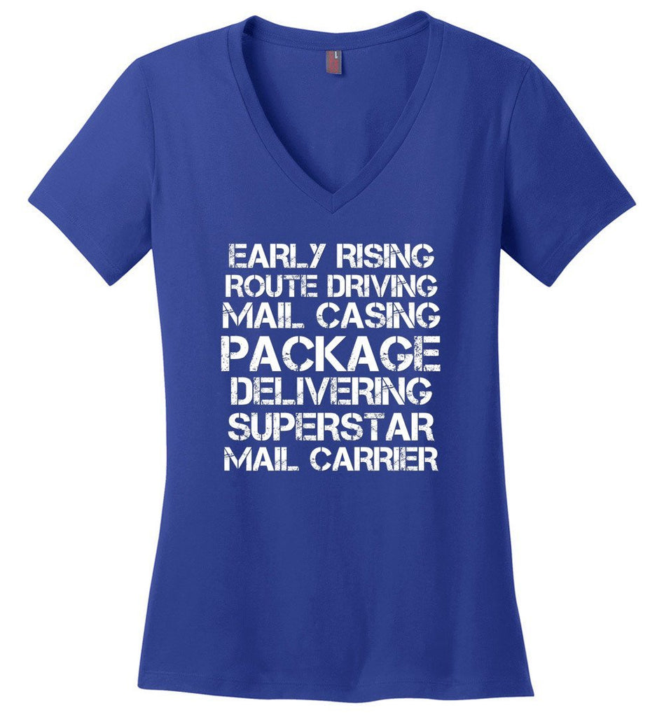 Postal Worker Tees Women's V-Neck Deep Royal / S Superstar Mail Carrier Women's V-Neck Tshirt