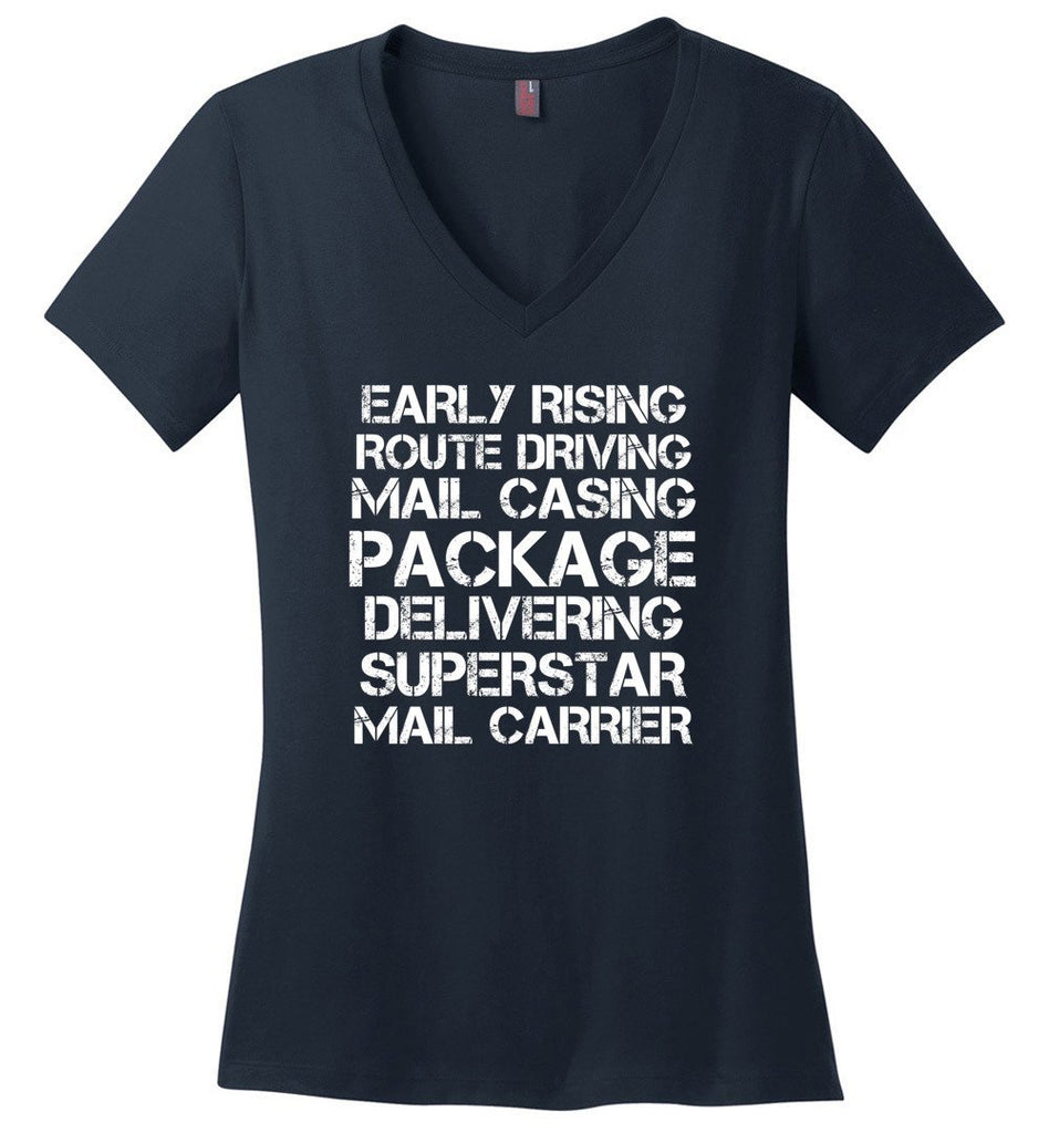 Postal Worker Tees Women's V-Neck Navy / S Superstar Mail Carrier Women's V-Neck Tshirt