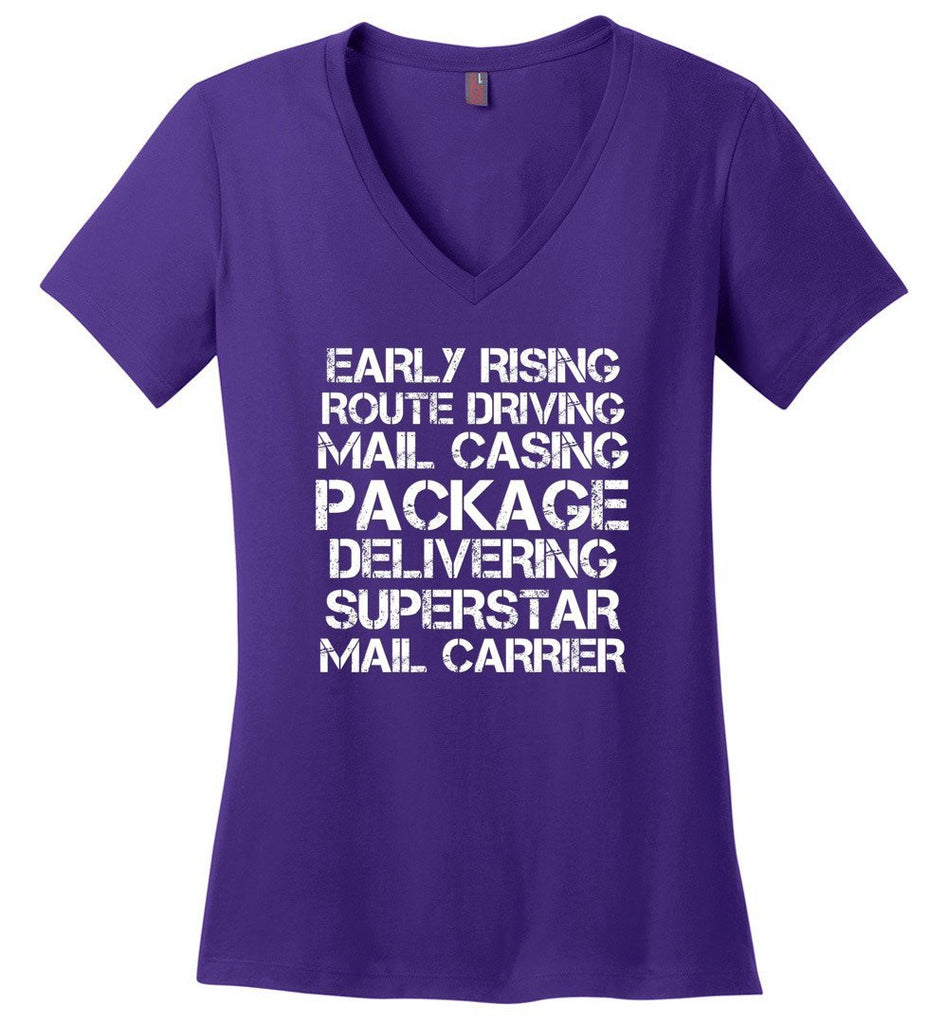 Postal Worker Tees Women's V-Neck Purple / S Superstar Mail Carrier Women's V-Neck Tshirt